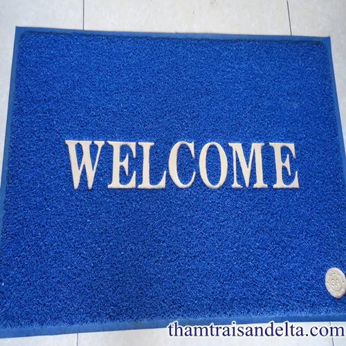 Thảm welcome màu xanh lam