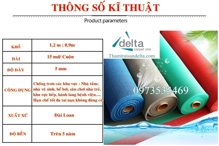 Thông số thảm nhựa chống trơn nhà tắm